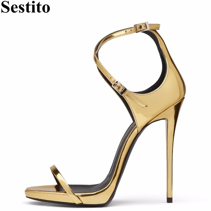 Gold Cross-tied Party <font><b>Sandals</b></font> Summer Peep Toe <font><b>12</b></font> <font><b>cm</b></font> Thin Heels Women <font><b>Sandals</b></font> Buckle Strap Newest High Heels Fashion Women Shoes image
