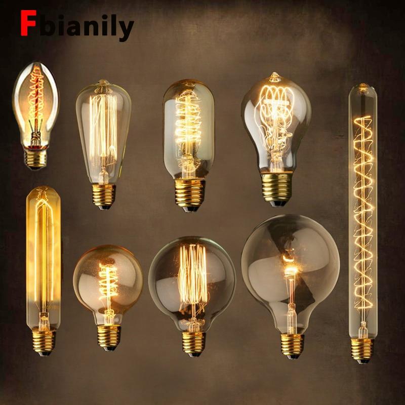 Винтажная лампа Эдисона E27 220 В, ретро-лампа 40 Вт, винтажный светильник, лампа ST64, антикварная лампа, лампа накаливания для дома, Новинка