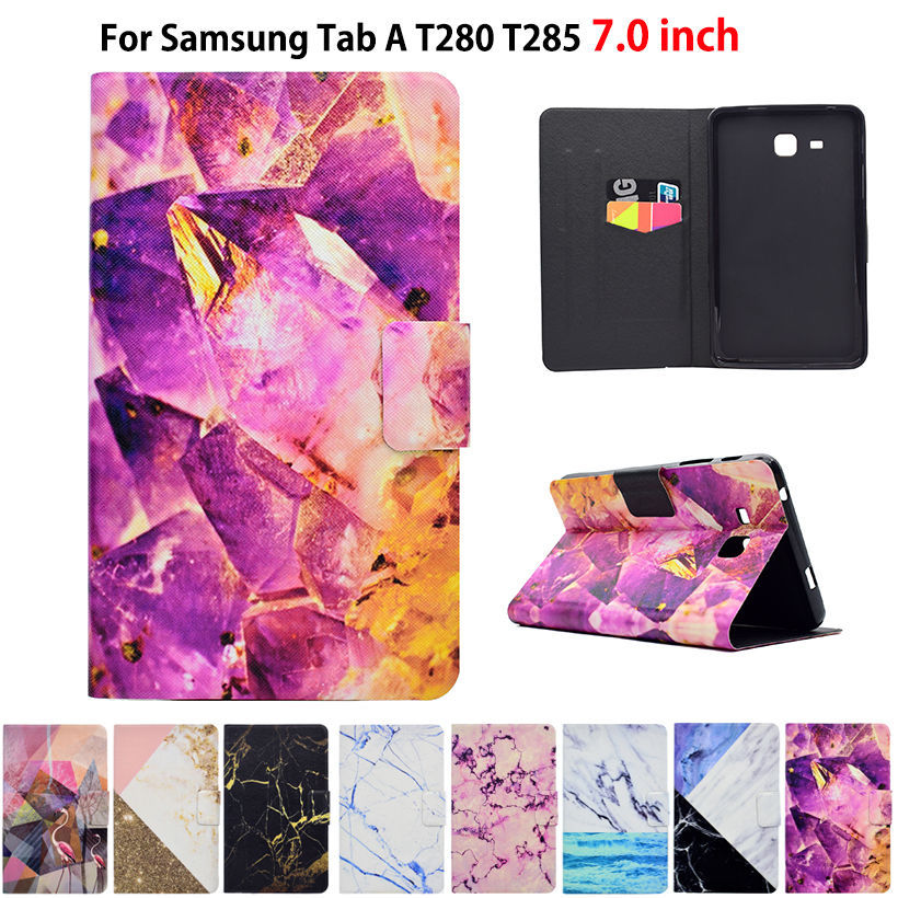 Marble Pattern Case For Samsung Galaxy Tab A A6 7.0 2016 T280 T285 SM-T280 Case Smart Cover Funda Tablet PU Leather Stand Shell