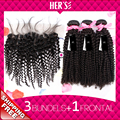 Grade 7A Unprocessed Human Virgin Malaysian Curly Hair With 13x4 Lace Frontal,3 Bundles With Closure,Swiss Human Hair Closure