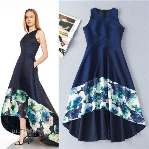 Elegant Royal Blue Front Short Back Long Dovetail Dress 2016 Summer Women Sleeveless Runway Maxi