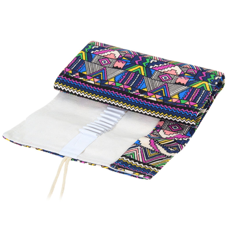 36/48/72 Ethnic Wind Professional Cosmetic Brush Bag Pen Bag Roll Pouch Printing Pencil Case Canvas Cosmetic Make Up Bag 1STL good quality 36 48 72 holes canvas pencil case roll up sketch painting pen box school office pencil stationery bag b066