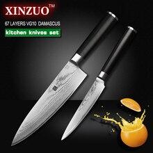 XINZUO 2 pcs kitchen knife set Damascus Chef knife Japanese VG10 steel Kitchen Knife sharp santoku utility knife free shipping