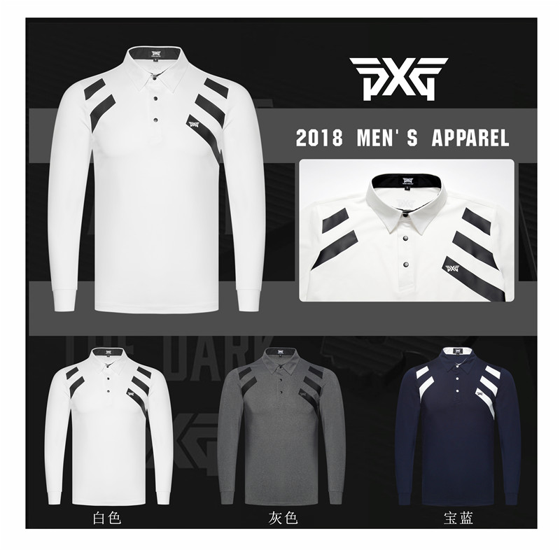 PXG Golf T-shirt Men Sportswear Long Sleeve Golf Shirt 3 colors S-XXL for Golf Tour Leisure Brand Shirt classic plaid pattern shirt collar long sleeves slimming colorful shirt for men