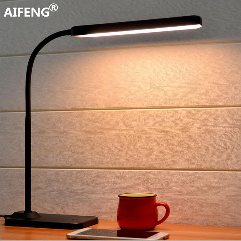 AIFENG Eye usb powered led light for table Stepless dimming flexible metal gooseneck desk lamp table lamp for study usb powered flexible neck 10 led white light lamp blue 27cm