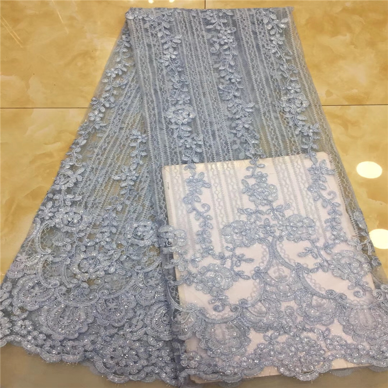 VILLIEA French Net Lace Fabric Latest African Guipure Lace Fabric with Embroidery Mesh Tulle With Sequins