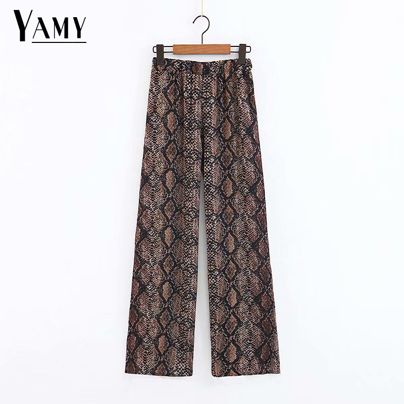 Snake print high waist   wide     leg     pants   boho loose trousers women korean punk 2018 autumn women fashion street style