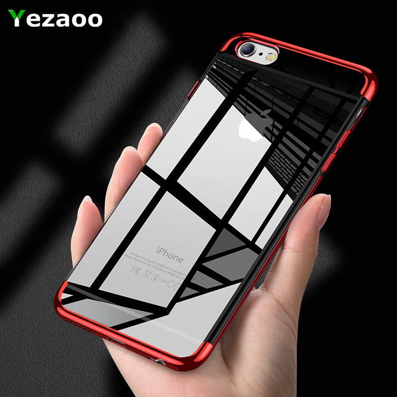 yezaoo TPU Soft coque case for iPhone 6 Cases Ultra Thin Transparent Plating Case for Apple iPhone 6 6S plus Mixed Silicone Case