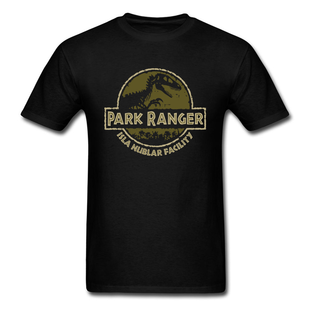 Park T-Rex Ranger T Shirt Jurassic Park T-shirt Men Summer Clothing Dinosaur Crash Tshirt Cool Cotton Tops Black Tee