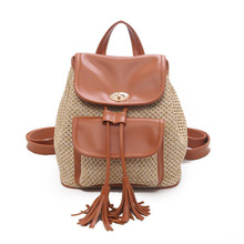 New Ladies Backpack Fashion Tassel Weave Straw 2019 Summer Wild PU Stitching Bag Leisure Holiday Travel Beach