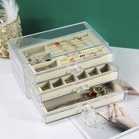 JEWPAC Thicken Velvet Jewelry Tray With Jewelry Box Holder Pendant Ring Earring Jade Pendant Stand Jewelry Storage Organizer