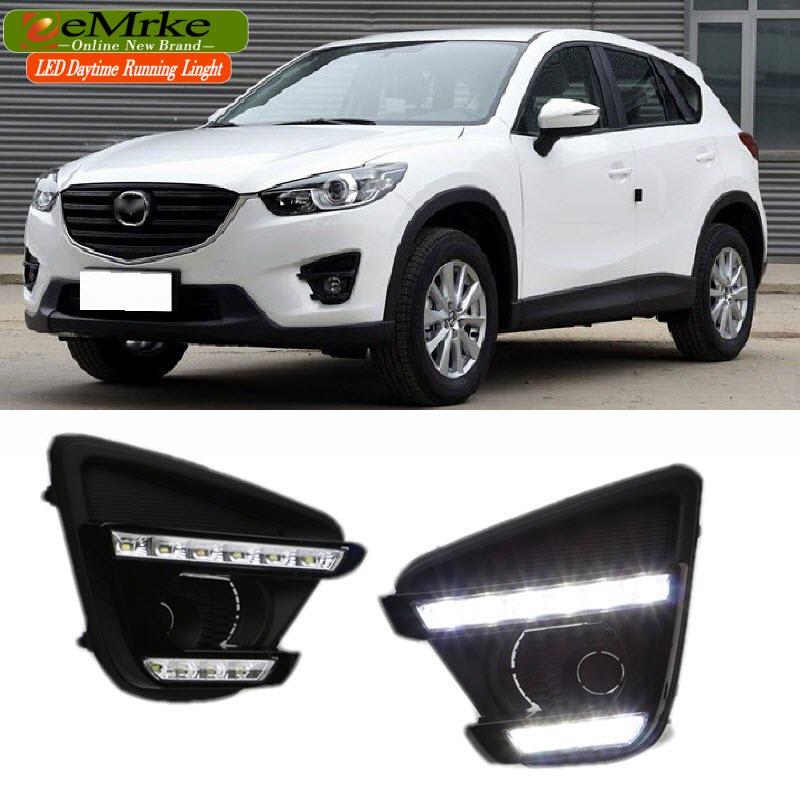 eeMrke Car LED DRL For Mazda CX-5 CX 5 2011- 2016 Xenon White DRL Fog Cover Daytime Running Lights Kits