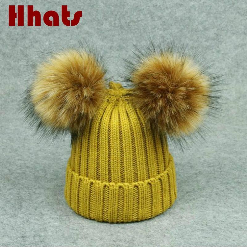 Which in shower double pompom ball knitted caps for women girl two pom pom women's winter hat female headgear   skullies     beanies