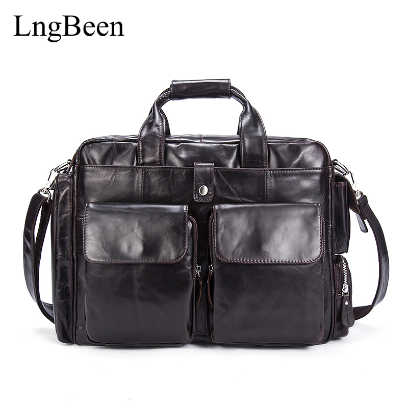 Lngbeen Genuine Leather Coffee Men Briefcase Laptop Business Bag Cowhide Men's Messenger Bags Luxury Lawyer Handbags LB8920 купить