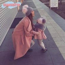 2PCS/Set Baby Mom Hats Double Ball Raccoon Faux Fur Pompom F