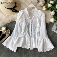 White Ruffle Lace Women Blouse V Neck Long Sleeve Boho Beach Vintage Elegant Chiffon Summer Korean Shirt Women Blouse