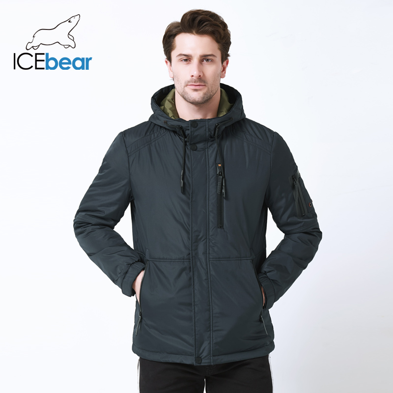 ICEbear 2019 autumn new men's casual  jacket fashion collar men's  hat men's brand jacket MWC18107I-in Parkas from Men's Clothing    3