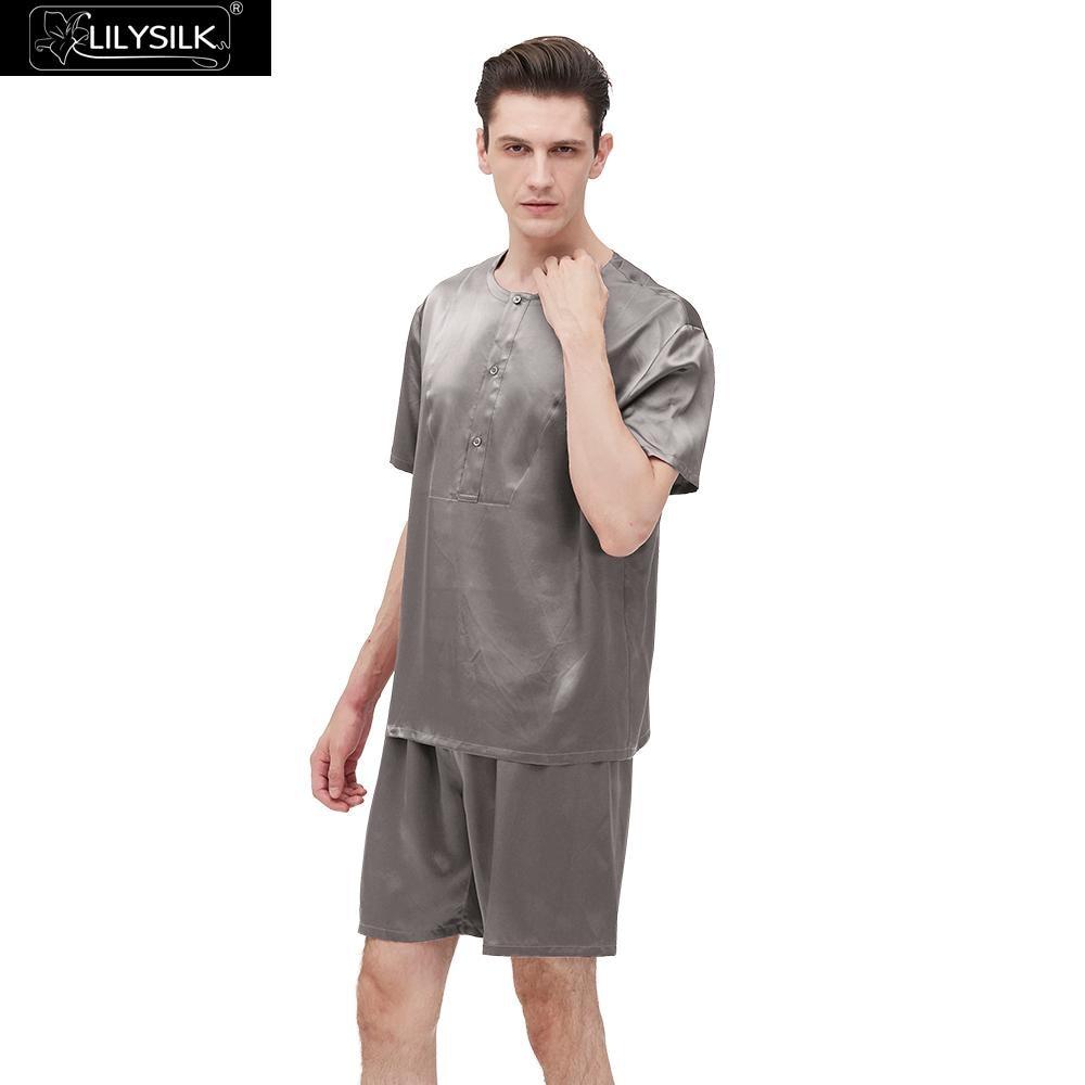 LilySilk Short Pajamas Set 22 Momme Simple Crew Neck Men s Clothing Free Shipping