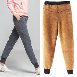 Новый утолщение овечьей шерсти повседневные зимние штаны женская утепленная 2 цвета Большие размеры M-6XL