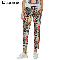 GLO STORY 2019 Spring Women Casual Tape Floral Straight Pants Elastic Waist with String Female Trousers WSK 7868
