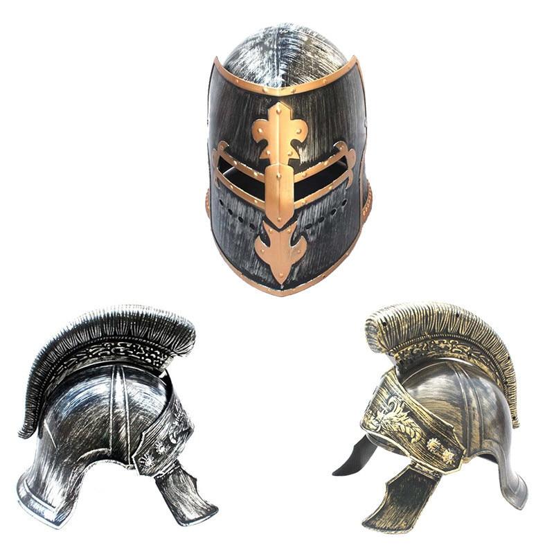 Di plastica Cosplay Masquerade Maschera Cappello Romano Spartan Casco Cappello Guerriero Romano Samurai Maschera Cappello Oro Oro/Argenteo Casco per per gli adulti
