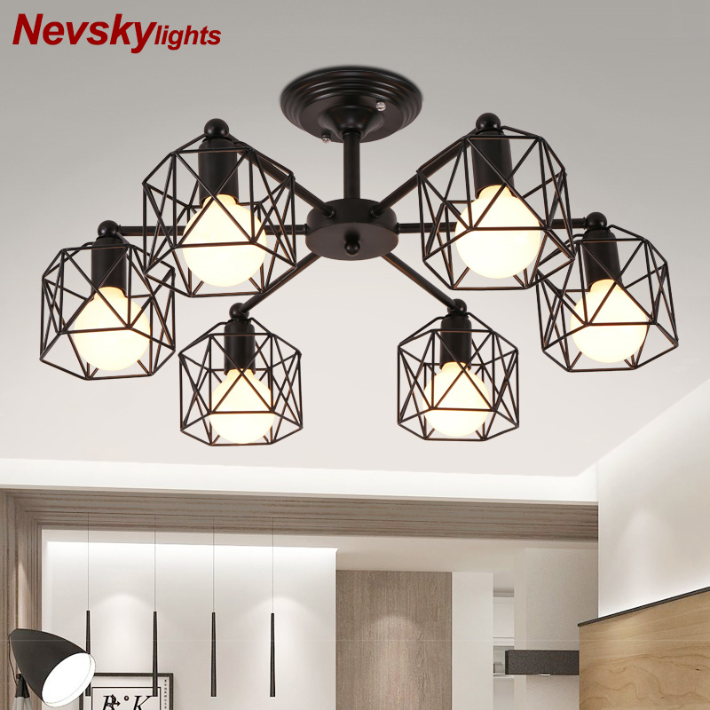 Vintage Chandeliers Multiple Rod Wrought Iron Ceiling Lamp E27 Bulb Living Room Lamparas for Home Lighting