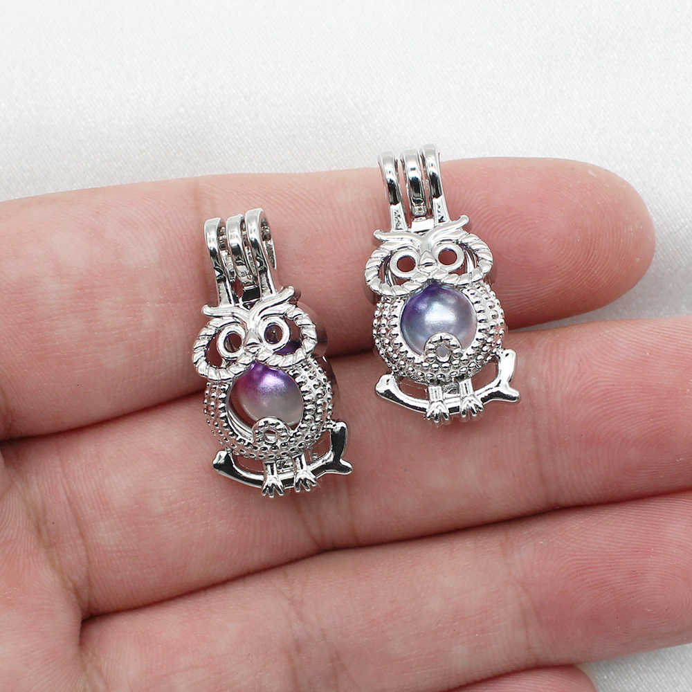 10pcs Silver Plated Color Hollow Cute Owl Oyster Pearl Cage Lockets Perfume Essential Oil Diffuser Cage Pendant Jewelry Charms