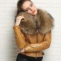 2016 TOP de Las Mujeres Acolchada Chaqueta de Cuero de piel de Oveja Genuina Mapache Cuello de Piel de Color Amarillo Negro Rojo 3 Colores Delgado Corto Invierno abrigos