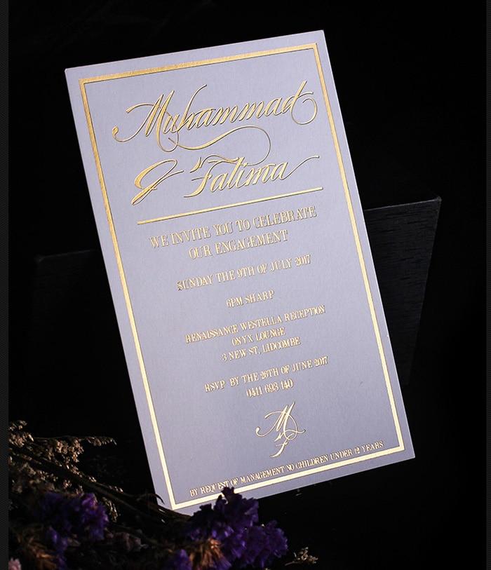 Flat Wedding Invitations: Simple Flat Gold Foil Wedding Invitation Cards-in Cards