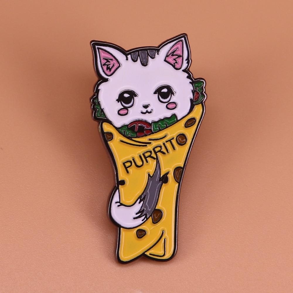 Creative Taco Cat Pin Vegan Burrito Brooch Animal Rights Badge Food Jewelry Cute Pins Vegetarian Foodie Gift Cat Lover Accessory Pins Badges Aliexpress