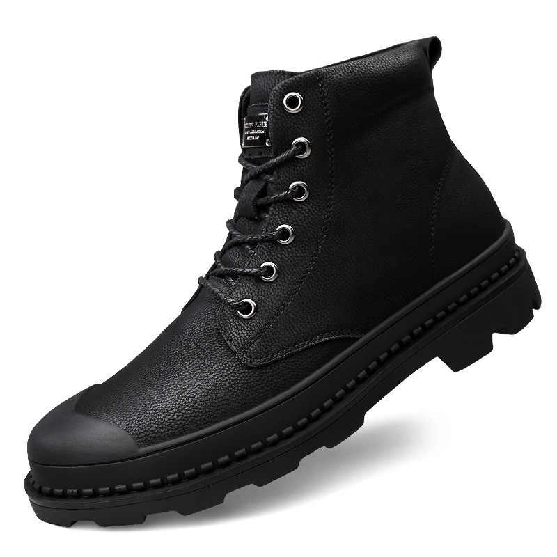 Sonbahar Kış erkek Botları Hakiki Deri Yüksek Kaliteli yarım çizmeler Sıcak Rahat Erkekler Martin Ayakkabı Kar Botları Büyük Boy 47