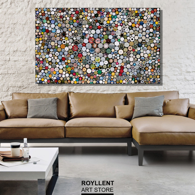 Lovely Modern Home Decoration Colorful Dots Painting Canvas Printing For Livingroom   Large Canvas Art(