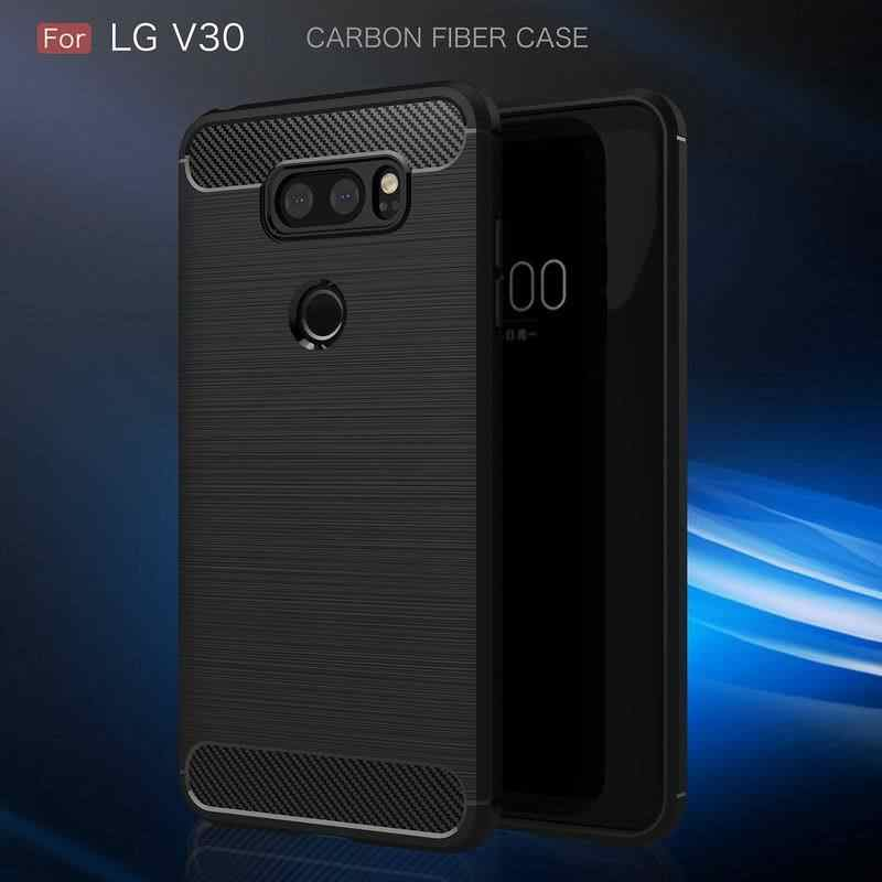 NOWAL Fashion Phone Case For LG G6 G7 Cases Carbon Fiber Brushed Back Cover For LG Q6 Q7 V30 G6 Mobile Phone Soft Silicon Coque