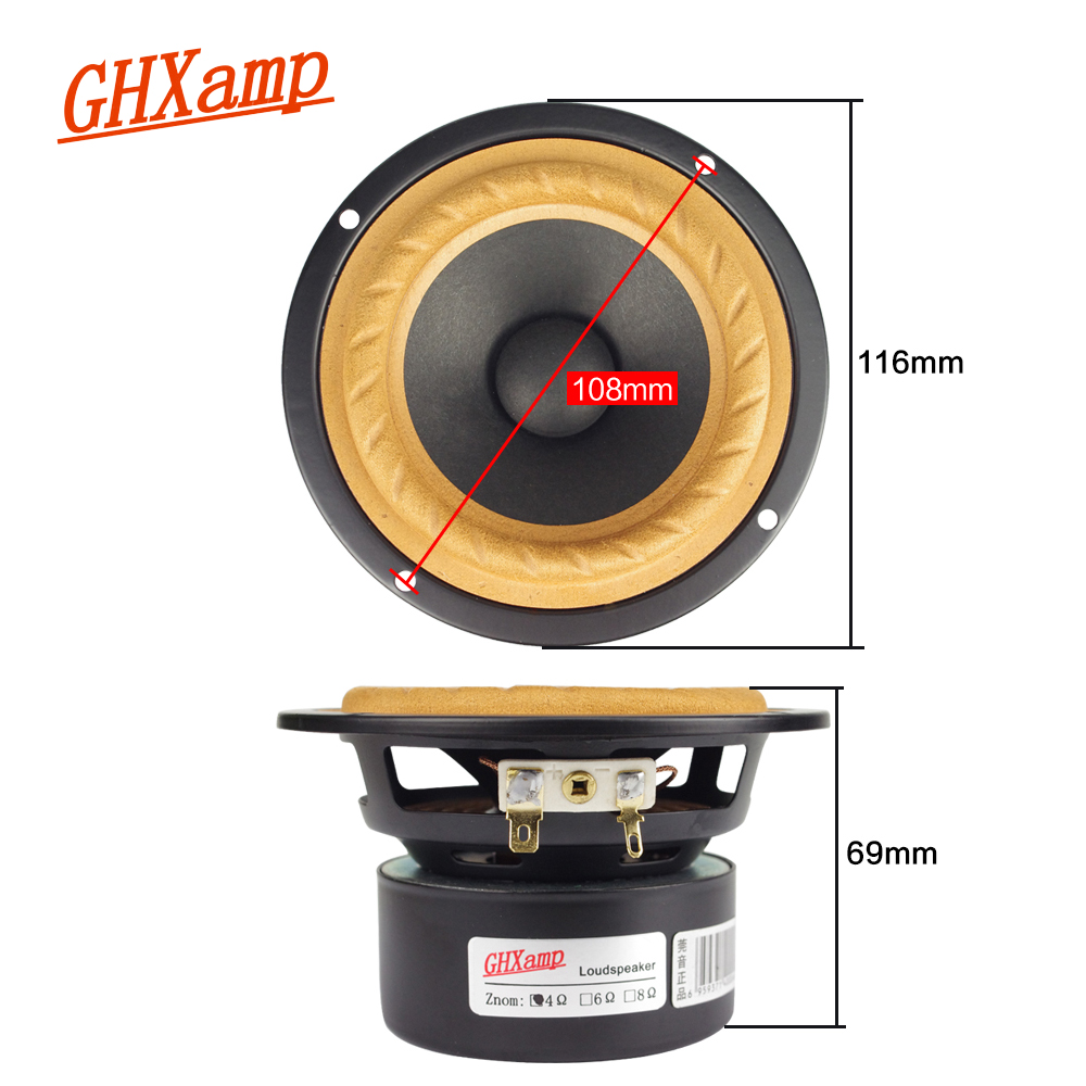 GHXAMP Plant Paper Cone 4 Inch Full Range Speaker Soundbox 4ohm 15W Home Theater Tweeter Mid