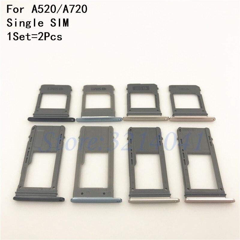 1PCS Single & Dual SIM Card Tray Slot Micro SD Card Tray Holder Adapter Spare Parts For Samsung Galaxy A520 A720 A5 2017 A7 2017