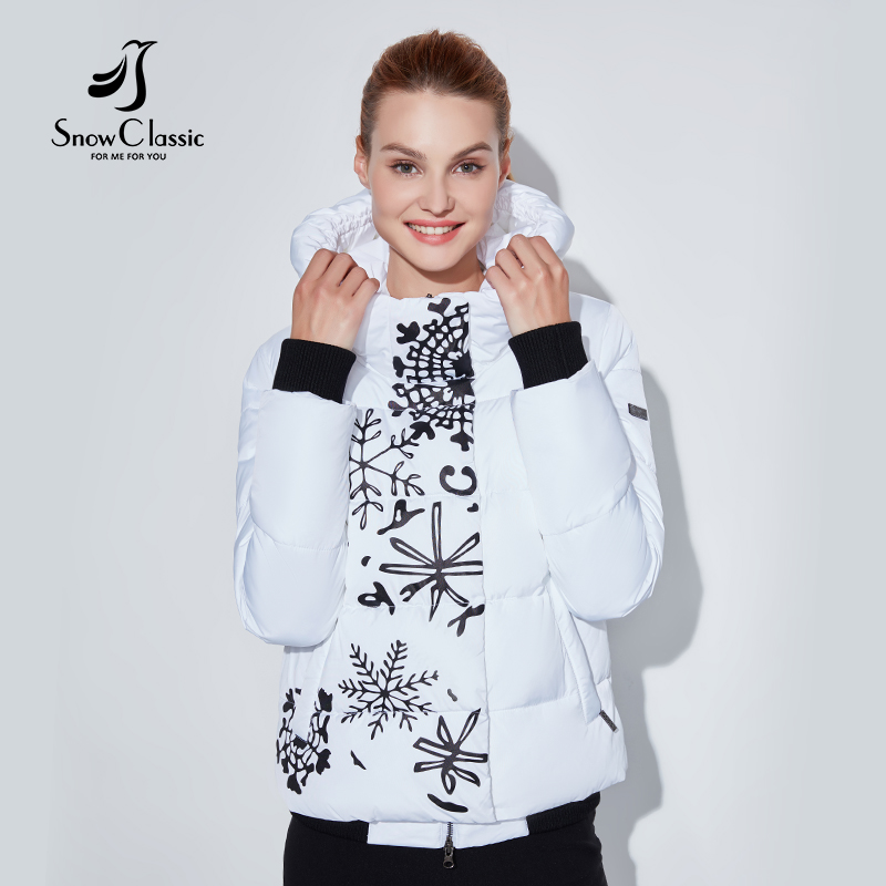 Snowclassic منتظم نماذج سيدة الطباعة عارضة الأزياء القطن سستة زائد زر غير المتكافئة تصميم الأوروبية نمط الشتاء الدافئة-في سترات فرائية مقلنسة من ملابس نسائية على  مجموعة 3