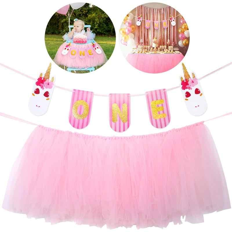 Baby 1st Birthday Pink Tutu Skirt For High Chair Decoration Party Supplies