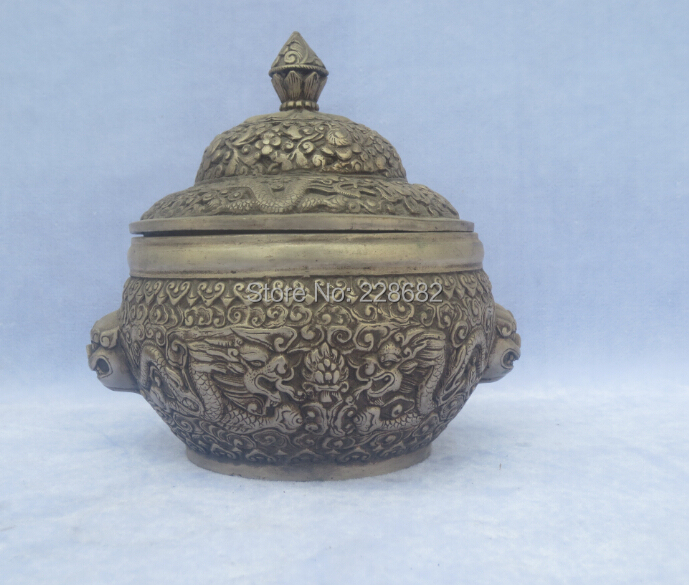 Antique antiques Collectible Decorated Old Handwork Tibet Silver Carved 2 Dragon Play Beads Pot/Sculpture Free ShippingAntique antiques Collectible Decorated Old Handwork Tibet Silver Carved 2 Dragon Play Beads Pot/Sculpture Free Shipping