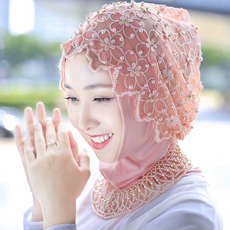 Ramadan Muslim Women Headscarf Wraps Hijab With Beading Necklace