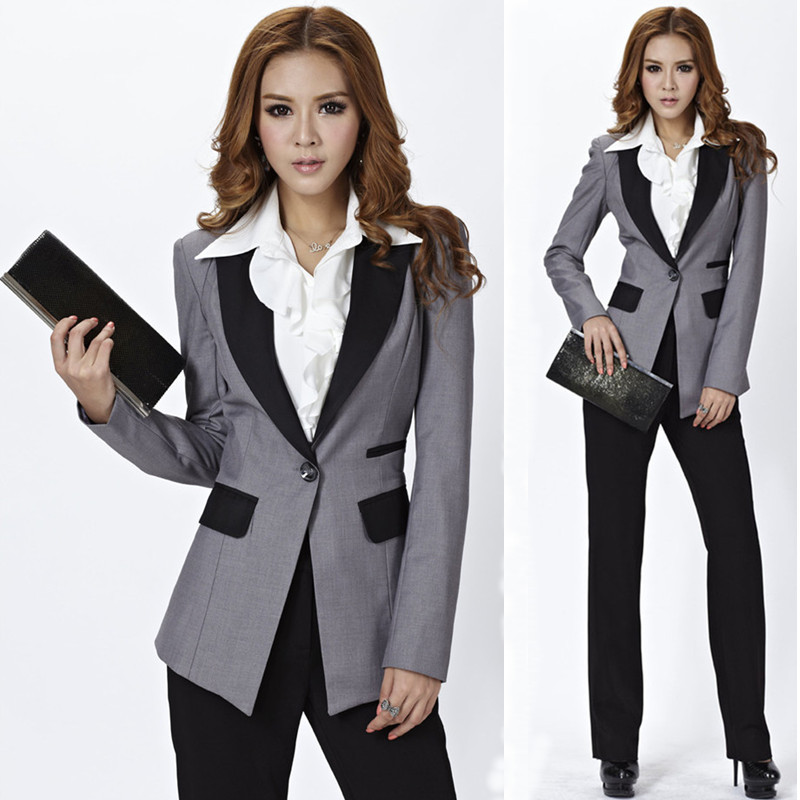High Quality Novelty Pant Suits Gray Blazers for Women Business Suits  Elegant Fashion Ladies Working Uniform Pants-in Pant Suits from Women s  Clothing on ... 9b67b805d