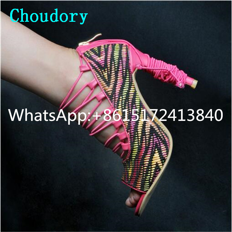 Choudory Mixed Colors Zipper Thin Heels Fashion Women Super High Heel Sandals Peep Toe Dress Cross-tied Gladiator Shoes Women