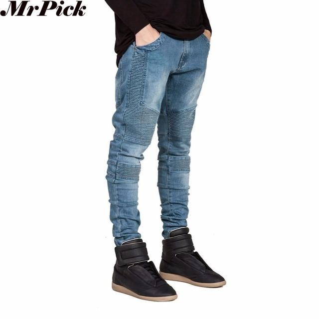 2016 Uomini Skinny Jeans Uomo Runway Slim Racer Biker Jeans Strech Jeans di Hiphop Per Gli Uomini Y2036