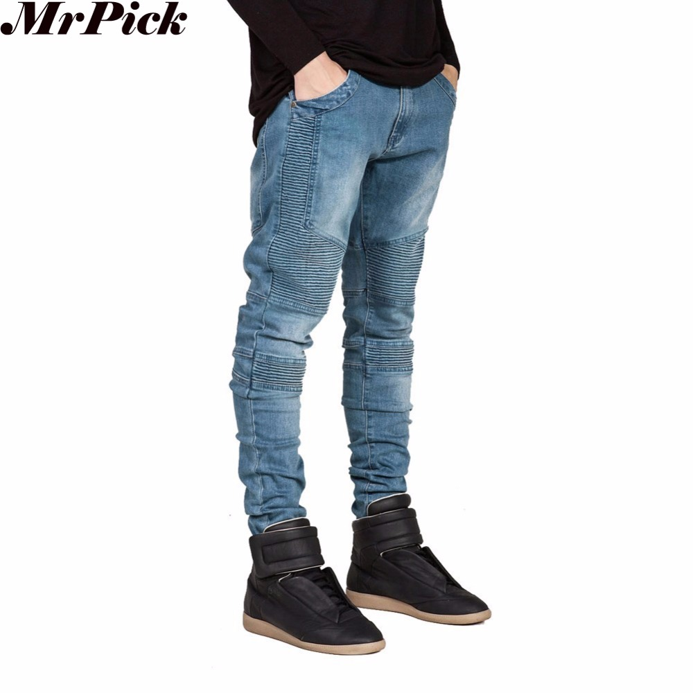 2016 hombres Vaqueros Skinny Hombre pista Slim Racer Biker Jeans Strech Hiphop Jeans para hombres Y2036