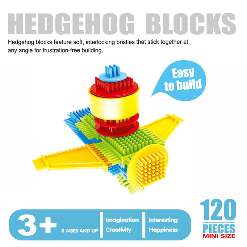 120pcs Bristle Shape 3D Building Blocks Tiles Construction Playboards Toy Toddlers Kids Toys For Children Educational Developing