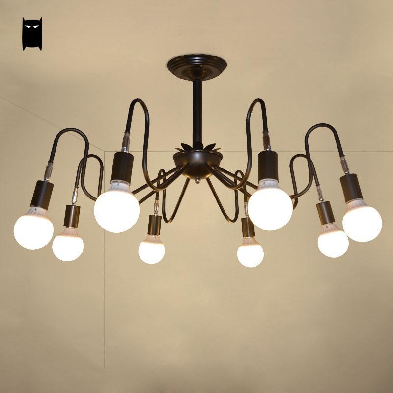 Noir blanc fer pieuvre plafonnier luminaire coréen créatif Plafon suspension lampe Lustre Luminaria Design Foyer magasin de vêtements