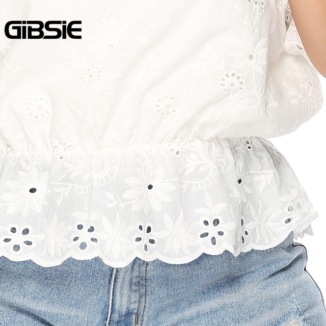 GIBSIE Plus Size Hollow Out Embroidery White Blouse Women's Summer Cotton Peplum Tops V-Neck Half Sleeve Casual Ladies Shirts 4