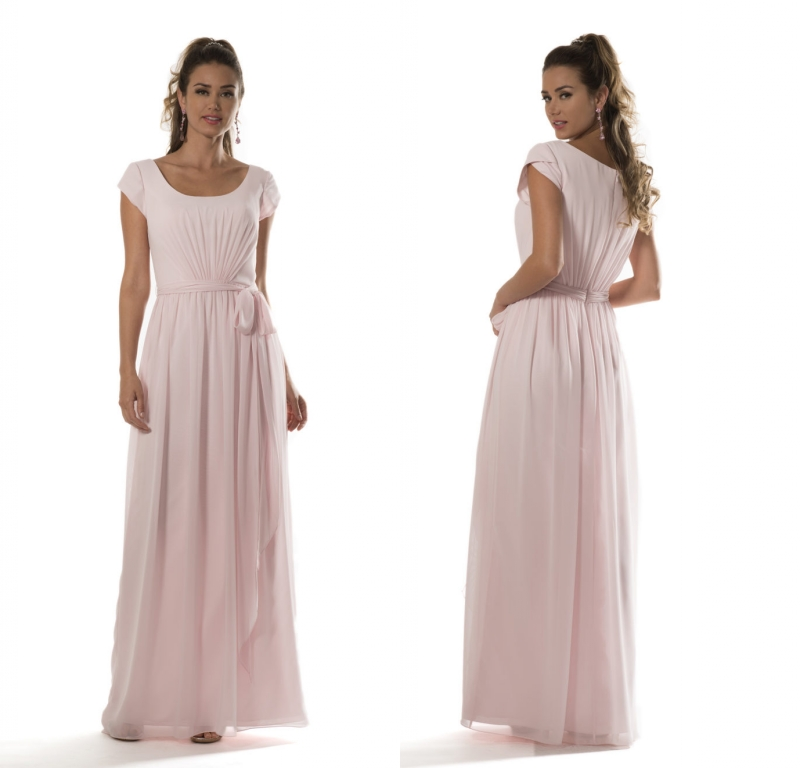 Light Pink Summer Modest   Bridesmaid     Dresses   2019 With Cap Sleeves A-line Sashes Country Beach Long Chiffon Wedding Party   Dress