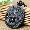 New Chinese Handwork Natural Black Obsidian Carved Dragon Lucky Blessing Amulet Pendants Necklace Fine Jade Fashion Jewelry