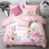 Güzel Pembe Çiçek Baskılı Yatak Seti Kraliçe Boyutu 100% Pamuk Nevresim Yastık Çarşaf Tekstil Setleri Kızlar için