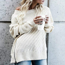 2018 Autumn and Winter American Street Fashion Sweater Female Amazon  Explosions Zipper Bat Sleeves Off- d0d15a3c860d